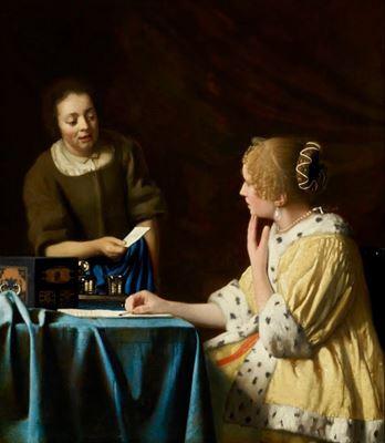 Show Evin Hanımı ve Hizmetçi, 1666-1667 dolayları, Tuval üzerine yağlıboya, 90.2 cm x 78.7 cm, The Frick Collection, New York, ABD. details