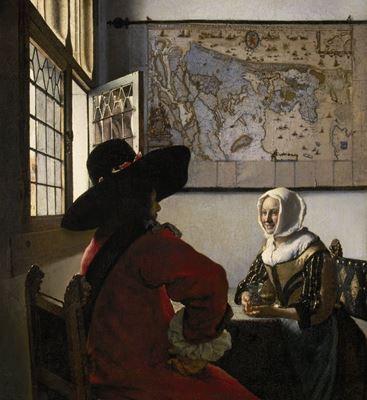 Show Subay ve Gülümseyen Kız, 1657 dolayları, Tuval üzerine yağlıboya, 50.5 x 46 cm, The Frick Collection, New York, ABD. details