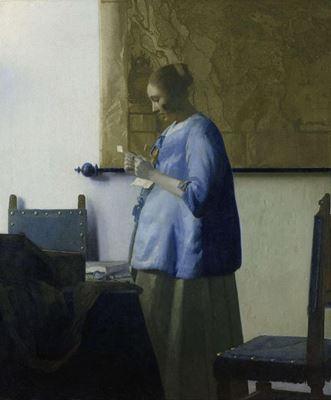 Show Mektup Okuyan Mavili Kadın, 1663 dolayları, Tuval üzerine yağlıboya, 46.5 x 39 cm, Rijksmuseum, Amsterdam, Hollanda. details
