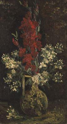 Show Beyaz ve Kırmızı Çiçekli Vazo, 1886, Tuval üzerine yağlıboya, 65.5 x 35 cm, Museum Boijmans Van Beuningen, Rotterdam, Hollanda. details