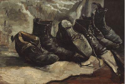 Show Üç Çift Ayakkabı, 1886-1887, Tuval üzerine yağlıboya, , 49.8 x 72.5 cm, Harvard Art Museums, Cambridge, ABD. details