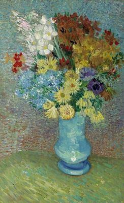 Show Mavi Vazoda Çiçekler, 1887 dolayları, Tuval üzerine yağlıboya, Kröller-Müller Museum, Otterlo, Hollanda. details