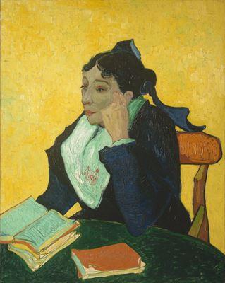 Show Arles'lı Bayan Ginoux Kitaplarıyla, 1888, Tuval üzerine yağlıboya, 91.4 x 73.7 cm, The Metropolitan Museum of Art, New York, ABD. details