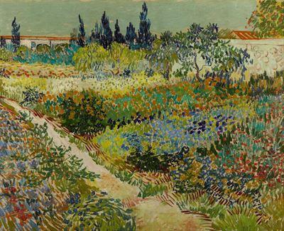 Show Arles'ta Bahçe, 1888, Tuval üzerine yağlıboya, 73 x 92 cm, Gemeentemuseum den Haag, The Hague, Hollanda. details