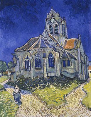 Show Auvers'deki Kilise, 1890, Tuval üzerine yağlıboya, 94 x 74 cm, Musée d'Orsay, Paris, Fransa. details