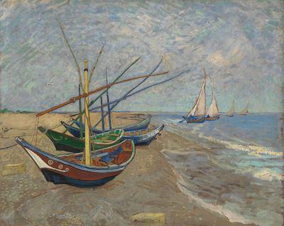 Show Saintes-Maries Sahilinde Balıkçı Tekneleri, 1888, Tuval üzerine yağlıboya, 65 x 81.5 cm, Van Gogh Museum, Amsterdam, Hollanda. details