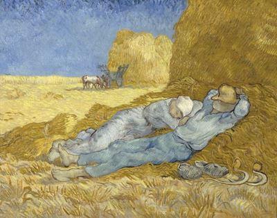 Show Öğle Molası (Millet'den esinle), 1890, Tuval üzerine yağlıboya, 73 x 91 cm, Musée d'Orsay, Paris, Fransa. details
