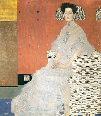 Show Fritza Riedler'in Portresi, 1906, Tuval üzerine yağlıboya, 155 x 137 cm, Österreichische Galerie Belvedere, Vienna, Avusturya. details