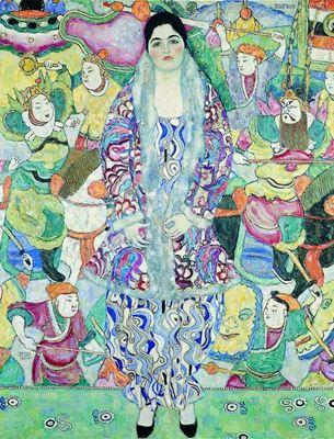 Show Friederike Maria Beer'in Portresi, 1916, Tuval üzerine yağlıboya, 168 x 130 cm, Tel Aviv Museum of Art, Tel Aviv, İsrail. details