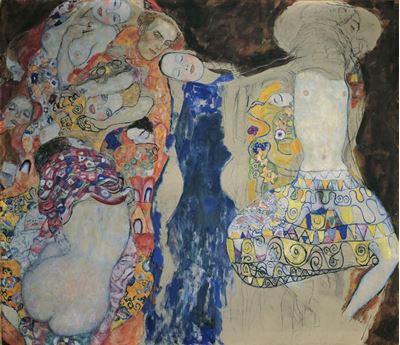 Show Gelin, 1917-1918, Tuval üzerine yağlıboya, 165 x 191 cm, Österreichische Galerie Belvedere, Vienna, Avusturya. details