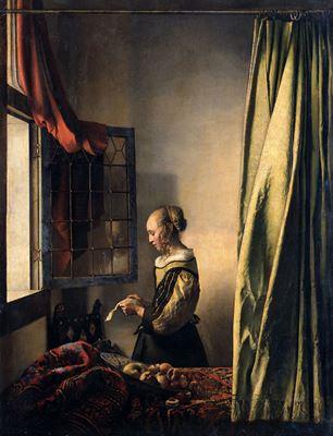 Show Açık Pencerein Önünde Mektup Okuyan Genç Kız, 1659 dolayları, Tuval üzerine yağlıboya, 83 x 64.5 cm, Staatliche Kunstsammlungen, Dresden, Almanya. details