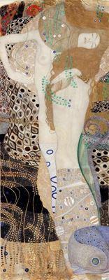 Show Su Yılanları I (Kız Arkadaşlar), 1904-1907, Parşömen üzerine karışık teknik, 50 x 20 cm, Österreichische Galerie Belvedere, Vienna, Avusturya. details