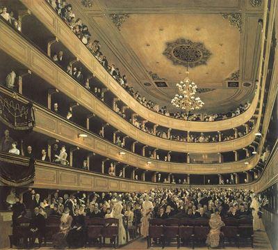 Show Eski Burgtheatre Tiyatrosu Oditoryumu, 1888, Kağıt üzerine guaj, 91 x 103 cm, Wien Museum, Vienna, Avusturya. details
