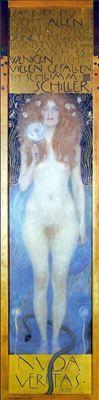Show Nuda Veritas, 1899, Tuval üzerine yağlıboya, 252 x 56.2 cm, Theatersammlung der Nationalbibliothek, Vienna, Avusturya. details