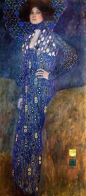 Show Emilie Flöge'nin Portresi, 1902, Tuval üzerine yağlıboya, 181 x 84 cm, Wien Museum, Vienna, Avusturya. details