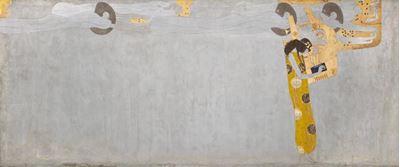 Show Beethoven Frizi: Mutluluk özlemi şiirle yatıştırılıyor (Sağ duvar, Tablo 1), 1901, 215 x 516 cm, Österreichische Galerie Belvedere, Vienna, Avusturya. details