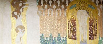 Show Beethoven Frizi: Cennet Korosu ve Kucaklaşma (Sağ duvar, Tablo 2), 1901, 215 x 481 cm, Österreichische Galerie Belvedere, Vienna, Avusturya. details