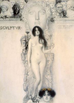 Show Heykel Alegorisi, 1896, Kurşun kalem, siyah-beyaz tebeşir, altın varak, 41.9 x 31.2 cm, Wien Museum, Vienna, Avusturya. details