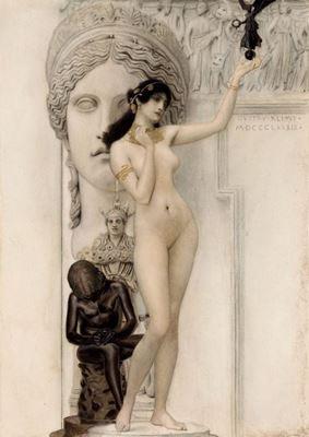 Show Heykel Alegorisi, 1889, Kurşun kalem, suluboya, altın varak, 43.5 x 30 cm, Österreichische Museum für Angewandte Kunst, Vienna, Avusturya. details