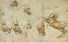 Show Atlarda ve Aslanlarda öfke ifadeleri, 1503-1504 dolayları, Kalem, mürekkep, siyah tebeşir, Royal Collection, Windsor Castle, İngiltere. details