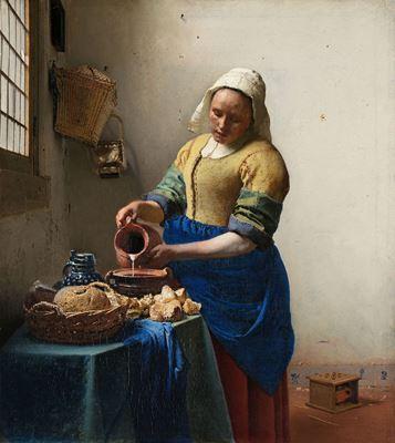 Show Süt Döken Kadın, 1660 dolayları, Tuval üzerine yağlıboya, 45.5 x 41 cm, Rijksmuseum, Amsterdam, Hollanda. details