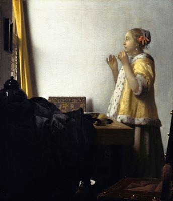 Show İnci Kolyeli Kadın, 1662-1665 dolayları, Tuval üzerine yağlıboya, 56.1 x 47.4 cm, Staatliche Museen zu Berlin, Berlin, Almanya. details