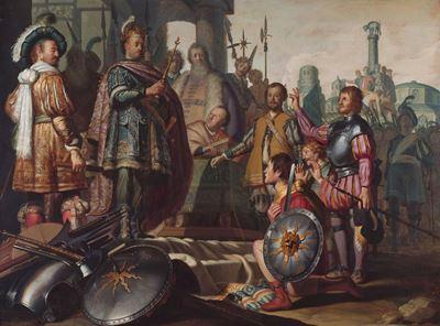 Show Tarih Resmi, 1624 dolayları, Panel üzerine yağlıboya, 89.3 x 121 cm, Museum De Lakenhal, Leiden, Hollanda. details