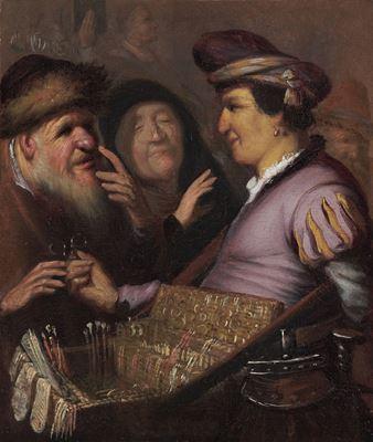 Show Seyyar Satıcı (Görme), 1624 dolayları, Panel üzerine yağlıboya, 21 x 17.8 cm, Museum De Lakenhal, Leiden, Hollanda. details