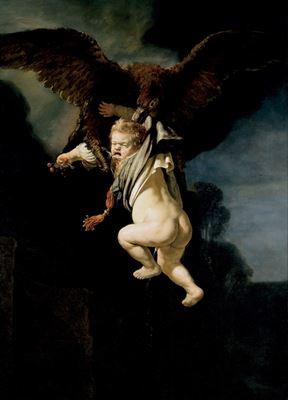 Show Ganymedes'in Kaçırılışı, 1635, Tuval üzerine yağlıboya, 177 x 129 cm, Staatliche Kunstsammlungen, Dresden, Almanya. details