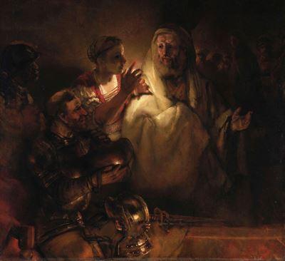 Show Petrus'un İsa'yı Yadsıması, 1660, Tuval üzerine yağlıboya, 154 x 169 cm, Rijksmuseum, Amsterdam, Hollanda. details