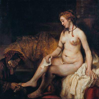 Show Banyosunda Batşeba, 1654, Tuval üzerine yağlıboya, 142 x 142 cm, Musée du Louvre, Paris, Fransa. details