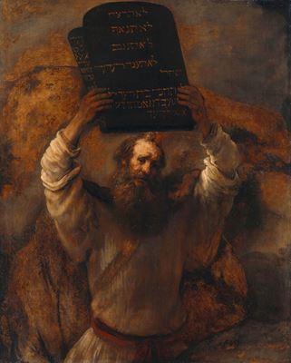 Show Musa'nın Kanun Tabletlerini Kırışı, 1659, Tuval üzerine yağlıboya, 168.1 x 136.5 cm, Staatliche Museen zu Berlin, Berlin, Almanya. details