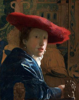 Show Kırmızı Şapkalı Kız, 1665-1666 dolayları, Panel üzerine yağlıboya, 23.2 x 18.1 cm, National Gallery of Art, Washington, ABD. details