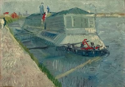 Show Asnières'de Seine Üzerinde Çamaşırhane Teknesi, 1887, Tuval üzerine yağlıboya, 19.05 x 26.99 cm, Virginia Museum of Fine Arts, Richmond, ABD. details