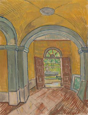 Show Akıl Hastanesi Giriş Holü, 1889, Tuval üzerine yağlıboya, tebeşir, 61.6 x 47.1 cm, Van Gogh Museum, Amsterdam, Hollanda. details