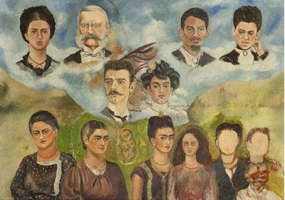 Show Ailem, 1949-1950, Masonit üzerine yağlıboya, 59 x 79 cm, Museo Frida Kahlo, Coyoacán, Meksika. details