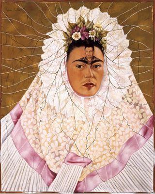 Show Tehuana Olarak Otoportre ya da Düşüncelerimde Diego, 1943, Masonit üzerine yağlıboya, 76 x 61 cm, Jacques and Natasha Gelman Collection, Mexico City, Meksika. details