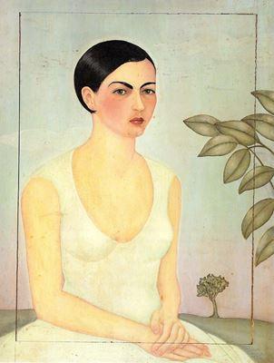 Show Cristina Kahlo'nun Portresi, 1928, Ahşap üzerine yağlıboya, Özel koleksiyon. details