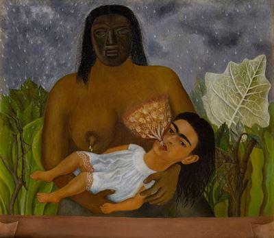 Show Dadım ve Ben, 1937, Metal üzerine yağlıboya, 35 x 39.8 cm, Museo Dolores Olmedo, Mexico City, Meksika. details
