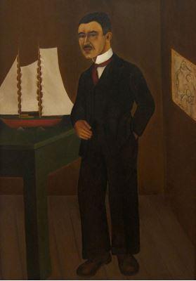 Show Dr. Leo Eloesser'in Portresi, 1931, Masonit üzerine yağlıboya, 85.1 x 59.7 cm, Universityof California, School of Medicine, San Francisco, ABD. details