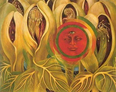 Show Güneş ve Yaşam, 1947, Masonit üzerine yağlıboya, 40 x 50 cm, Galería Arvil, Mexico City, Meksika. details
