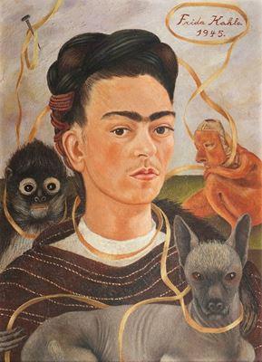 Show Küçük Maymunlu Otoportre, 1945, Masonit üzerine yağlıboya, 41.5 x 56 cm, Museo Dolores Olmedo, Mexico City, Meksika. details