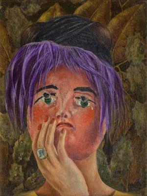 Show Maske, 1945, Masonit üzerine yağlıboya, 40 x 30.5 cm, Museo Dolores Olmedo, Mexico City, Meksika. details