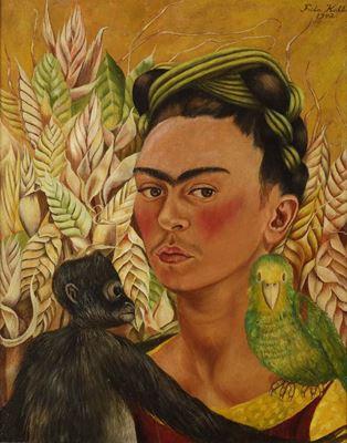 Show Maymun ve Papağanla Otoportre, 1942, Masonit üzerine yağlıboya, 54.5 x 43.1 cm, Museo de Arte Latinoamericano de Buenos Aires, Buenos Aires, Arjantin. details