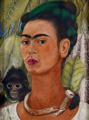 Show Maymunlu Otoportre, 1938, Masonit üzerine yağlıboya, 40.64 x 30.48 cm, Albright-Knox Art Gallery, Buffalo, ABD. details