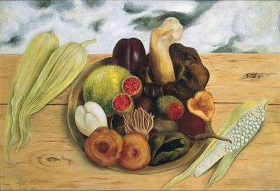 Show Yeryüzünün Meyveleri, 1938, Masonit üzerine yağlıboya, 40.6 x 60 cm, Collection of National Bank of Mexico, Mexico City, Meksika. details