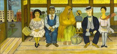 Show Otobüs, 1929, Tuval üzerine yağlıboya, 26 x 55.5 cm, Museo Dolores Olmedo, Mexico City, Meksika. details