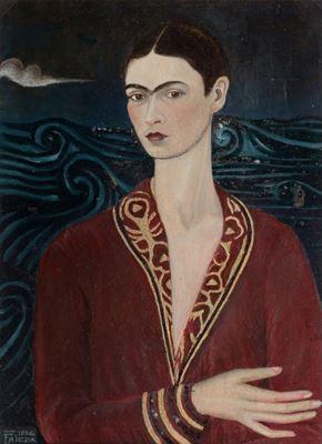 Show Kadife Elbiseli Otoportre, 1926, Tuval üzerine yağlıboya, Özel koleksiyon. details
