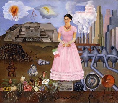 Show Meksika ve Birleşik Devletler Arasındaki Sınırda Otoportre, 1932, Metal üzerine yağlıboya, Özel koleksiyon. details