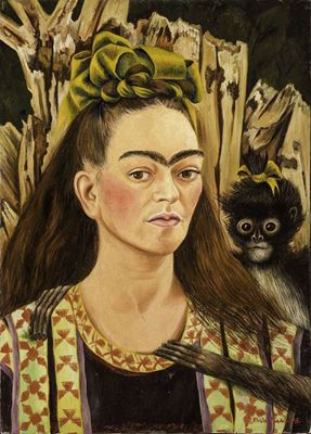 Show Maymunlu Otoportre, 1945, Masonit üzerine yağlıboya, Robert Brady Museum, Cuernavaca, Meksika. details